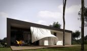 Чёрный дом с белыми занавесками
